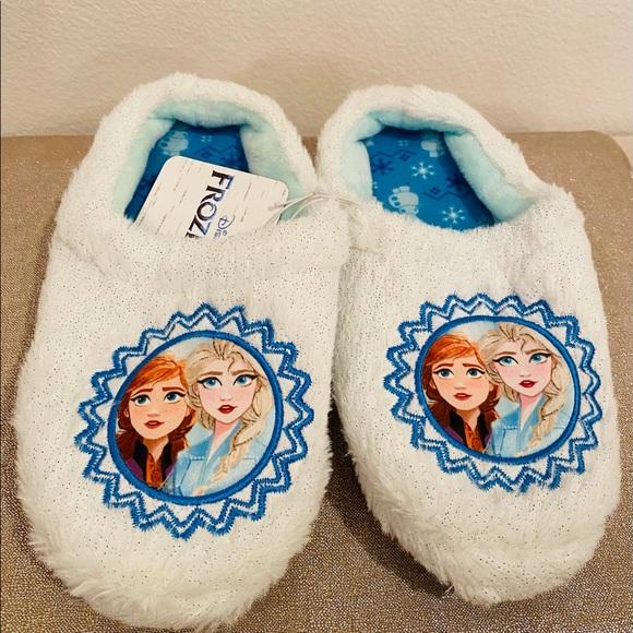 Disney Girls Toddler Frozen Anna & Elsa Slippers